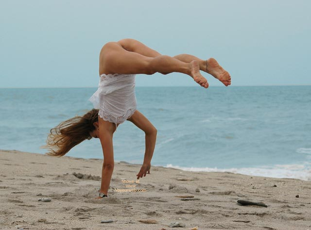 Half-nude Gymnast On Beach - Nude Amateur , Sexy Soles, Beach Acrobatics, Ass Up With Legs Out, Doing A Flip, Nude Acrobatics, Bottomless Handspring, Beach Bum, Toned Body Caught In Mid Handspring On Beach, In The Sand, Beaching With A Twist