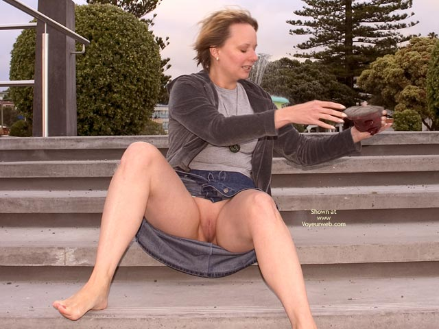 Pantiless Seat On Stairs - No Panties, On Stairs , Pantiless Seat On Stairs, Public Pussy, Public Upskirt, No Panties, Shave Pussy