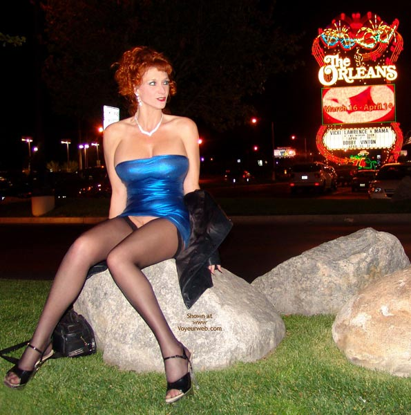 Pantyless In Vegas - Heels, Long Legs, Stockings , Stockings, Busty Redhead, Big Titted Lady, Little Blue Dress, Sitting On A Rock, What Happens In Vegas, Las Vegas Slut, Tight Dress, Bursting Out, Bottomless, Las Vegas Style Snatch