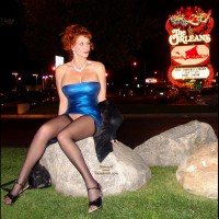 Pantyless In Vegas - Heels, Long Legs, Stockings , Stockings, Busty Redhead, Big Titted Lady, Little Blue Dress, Sitting On A Rock, What Happens In Vegas, Las Vegas Slut, Tight Dress, Bursting Out, Bottomless, Las Vegas Style Snatch