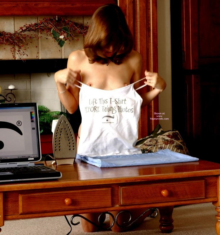 Vw Logo Shirt - Topless , Little Titties, T-shirt With Voyeurweb Logo, Topless Girl Ironing Clothes, Wedding Ring, T-shirt Tease