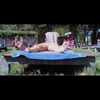 shameless girl in public nudist bath