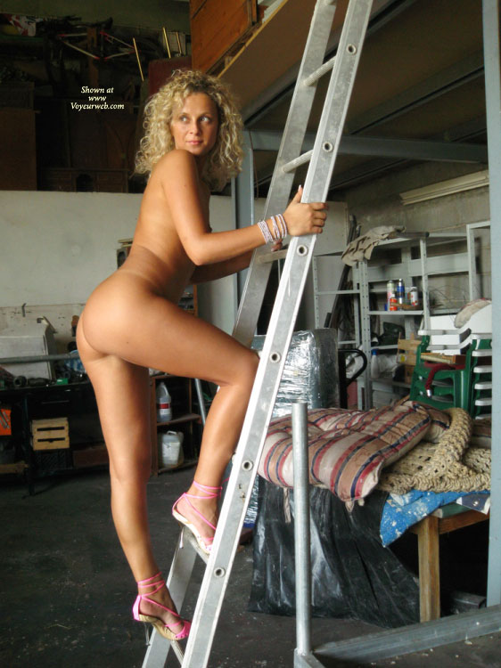 Nude Girl Climbing To Garage Loft - Blonde Hair, Heels, Milf, Naked Girl, Nude Amateur , Posing On A Ladder, Naked Climber, Bare Ass, Naked On A Ladder, Sexy Shoes, With High Heels On A Ladder, Eyes Open, Totally Naked On A Ladder