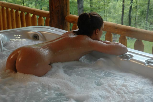 Bubbles And Butt , Bubbles And Butt, What A View, Bubble Bath, Bubble Butt, Hot Tub Butt, Bent Over In Hot Tub On Outdoor Deck