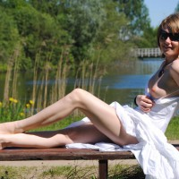 White Cotton Sundress - Perfect Tits, Naked Girl, Nude Amateur, Nude Wife , Left Boob Exposed, Leggy, Sitting On A Bench, Sun Glasses, Showing Left Boob In Public Next To A Lake, Nice Smile, White Dress With Left Breast Exposed Outside, Outdoor, Daring Pose By The Lake