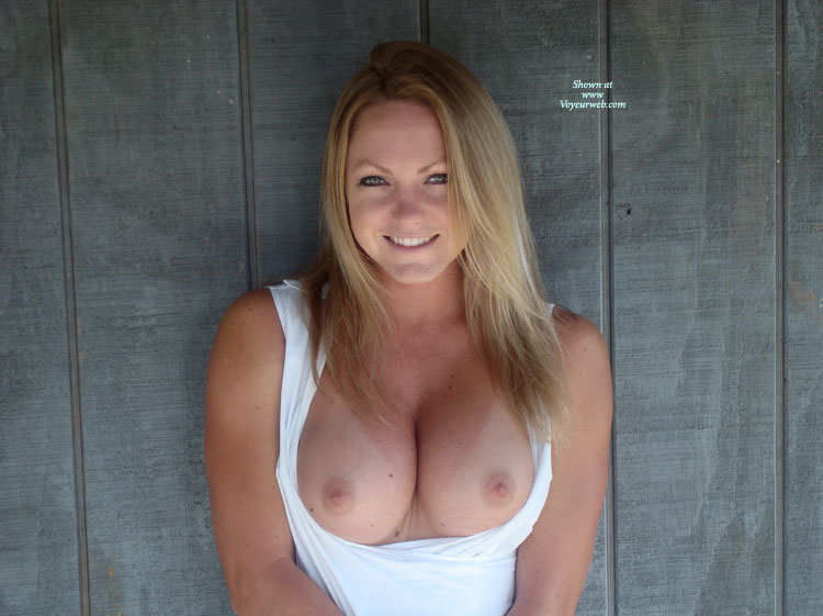 Nice Blonde With Natural Looking Breasts - Big Tits, Blonde Hair, Blue Eyes, Long Hair, Topless Girl, Topless , Big Smile, Exposing Breasts, Freckled Tits, Cute Blonde Bares Tits, Topless Amateur, Tanlines On Big Tits, Pink Areolas, Pulled Down Top