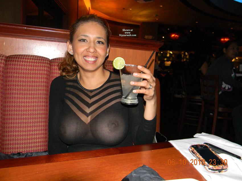 amateur flashing tits in see thru top