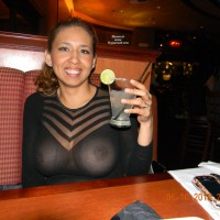 Breast Exposed Through Shear Top - Flashing, Milf , Black Sheer Party Dress, Huge Breasts, Firm Breasts, See Thru Shirt, Sheer And Sexy, Wife Dressed Sexy, Flashing In Public, Sitting At Table, See-through Stripes Over Sheer, Big Nipples, See Thru Black Dress, Brown Eyes