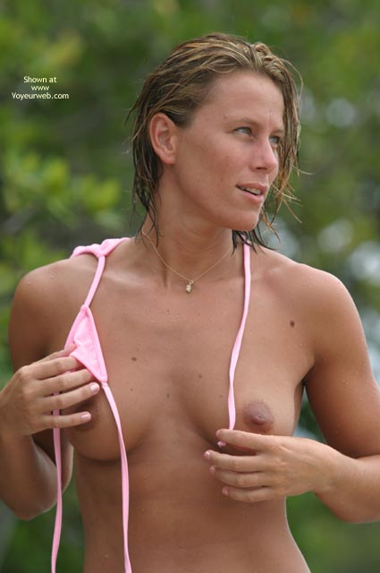 Topless - Blonde Hair, Topless , Topless, Tanned And Topless, Classic Blonde, Bikini Top Off, Tanned And Topless With Pink String Top, Short Blonde Hair, Medium Tits