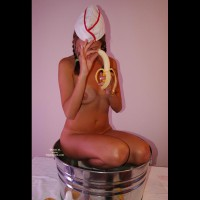 Naked Girl Kneeling In A Bucket - Brunette Hair, Tan Lines, Naked Girl , Pig Tails, In The Kitchen, Bucket Of Girl, In A Metal Tub, Banana Split, Peeling And Bathing, Hottie In A Tub, Brunette With Erect Banana