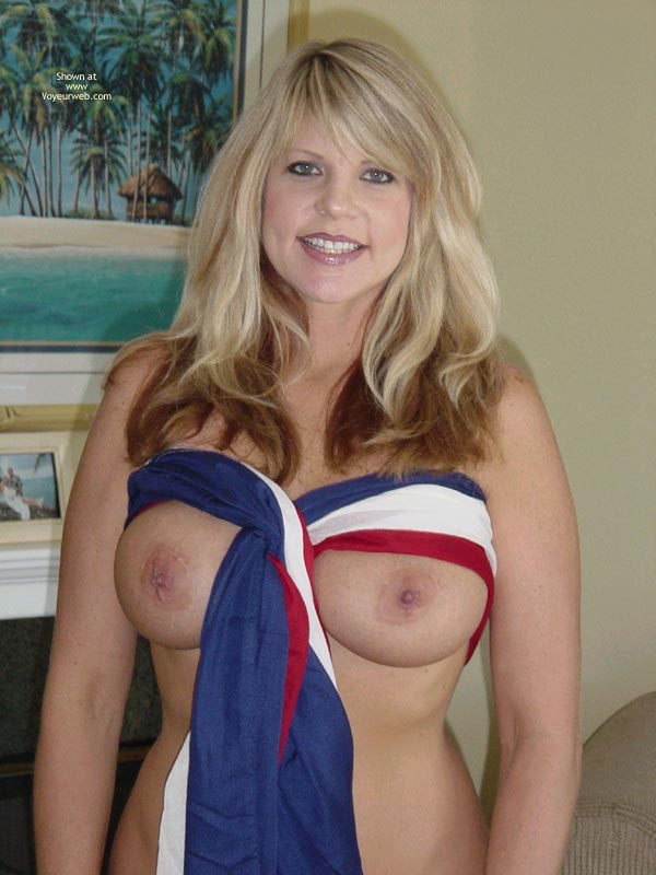 Red White And Blue , Red White And Blue, Fourth Of July, Patriotic Blonde Nude