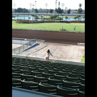 Nude Girl In Stadium - Blonde Hair, Nude In Public, Red Hair, Naked Girl, Nude Amateur , Bubble Butt, Nude Friend, Rear Nude, Nude Outdoors, Standing At Empty Stadium, Nude In Racetrack