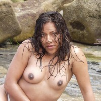 Dark Nipples - Dark Nipples, Topless, Wet , Dark Nipples, Posing Topless, Outside Topless, Very Dark Areolas, Sitting On Rocks, Wet Hair, Wet Skin, Leaning On One Arm