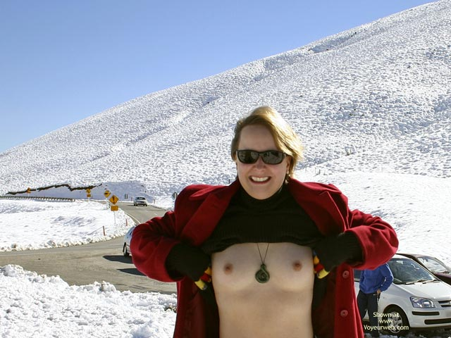 Topless On Snow - Gloves, Hard Nipple, Perky Tits, Small Nipples , Topless On Snow, Tits, Public Tit Flash, Hard Nipples, Small Nipples, Pale Skinned Breasts, Open Red Coat, Perky Breasts, Coloured Gloves, Black Sweater