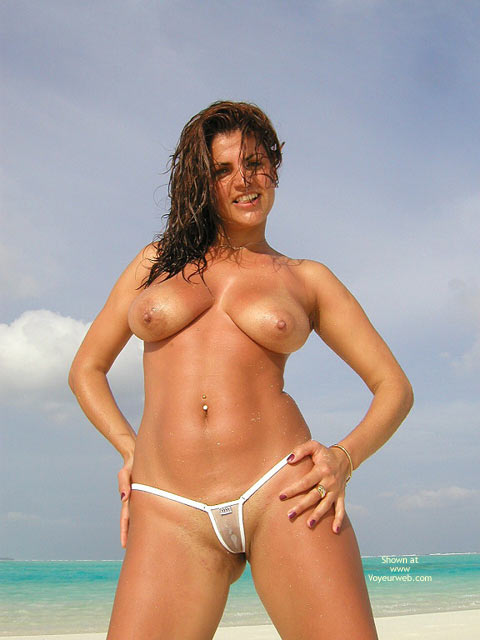 Wicked Weasel - Bikini, Wicked Weasel , Wicked Weasel, Sheer Bikini, Posing On Beach, White Thong