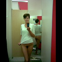Pussy Self Shot - Brunette Hair, Dark Hair, Trimmed Pussy , Pulling At Shirt, Dark Pubic Hair, Dressing Room, Standing, Holding Phone, Cute Face, Mirror Shot, Self Shot, Bottomless, Short Brunette Hair