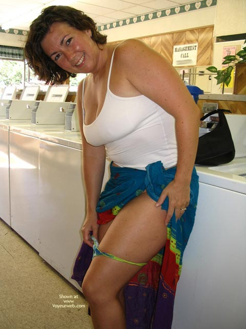 Public - Exposed In Public, Flashing, Nude In Public , Public, Undressing At The Laundromat, Thong Removal, Naughty In Public, Laundry Flash, Multi Coloured Skirt