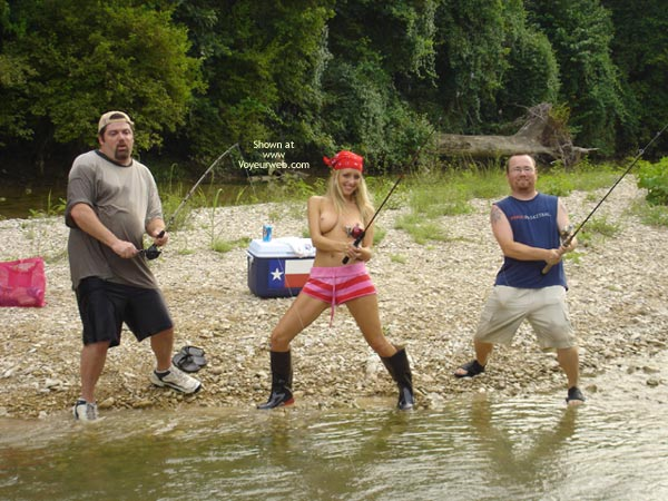 Fishing Buddy S - Blonde Hair, Fishing, Topless , Fishing Buddy S, Fishing, Topless, Blonde Hair, Toppless Girl Holding Rod, Toppless Girl Fishing With Two Buddies, Girl With Rod
