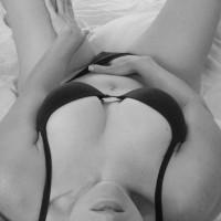 Hand In Panties - Navel Piercing, Sexy Lingerie , Hand In Panties, Cleavage Top View, Pierced Navel, Touch Myself, Black Lingerie
