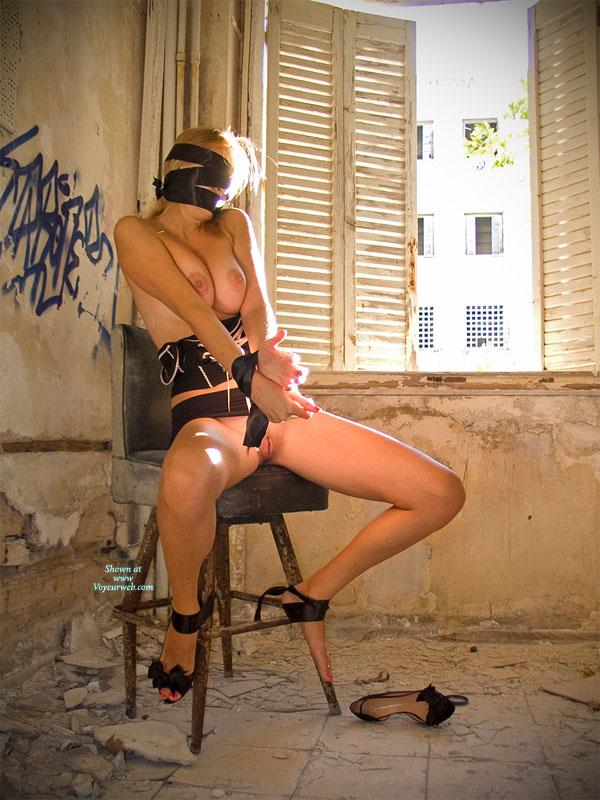 Bound And Blindfolded Nude Girl - Big Tits, Naked Girl, Nude Amateur , Tied And Blindfolded, In Front Of Window, Abandoned Building, Sitting On A Stool, Bottomless Girlfriend, Blind Folded, Bondage, Bound To Stool