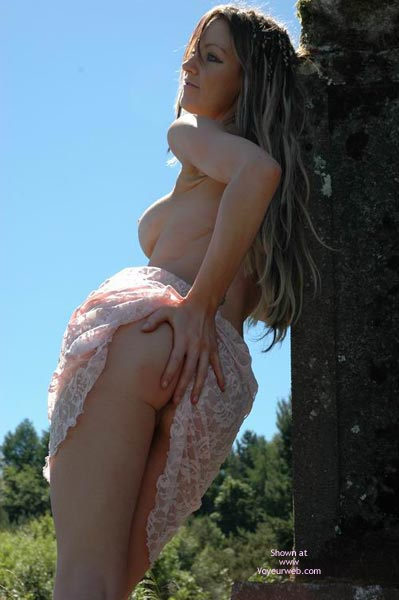 Long Blond Hair - In The Woods, Long Hair , Long Blond Hair, Raising Dress, Pink Lace Dress, In The Woods, Hand On Rear, Back Lighting