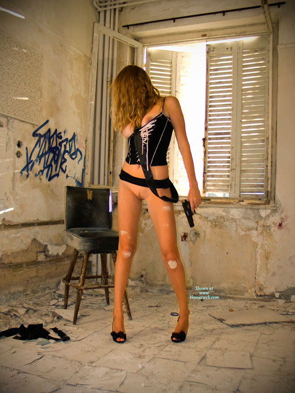 Fetish Girl Bottomless With Gun - Big Tits, Bottomless, Brunette Hair, Firm Tits, Heels, Landing Strip, Spread Legs, Naked Girl, Nude Amateur, Sexy Figure, Sexy Legs , Holding Gun, Black And Pink Short Top, Standing Legs Spread, Open Toed Heels, Dirty Knees, Slim Body, Nude Girlfriend On Heels, Black Lace High Heels, Big Firm Tits, Laced Up Tank Top, Abandoned Building, Black Belt