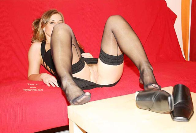 Waiting - On The Couch, Spread, Sexy Feet , Waiting, Upskirt On Couch, Feet, Spread, Black Thigh Highs With Spread Legs, Shoes Off And On The Red Couch