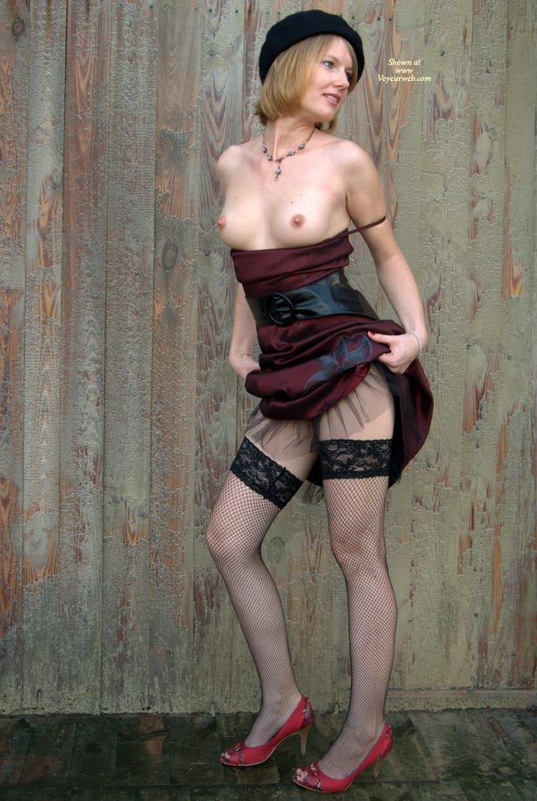 Wife Posing Topless Lifting Dress - Black Hair, Erect Nipples, Heels, Perfect Tits, Red Hair, Stockings, Topless , Hands At Hips, Looking Away, Red High Heels, Black Hat, Fish-net Stockings, Dress Pulled Up, Dress Lifted