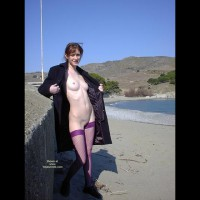 Flashing In Public - Brunette Hair, Flashing, Nude Outdoors, Shaved, Small Breasts, Small Nipples, Stockings , Flashing In Public, Roadside Flashing, Trench Coat, Small Nipples, Small Breasts, Purple Fishnet Stockings, Brunette, Outdoors, Shaved