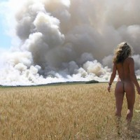 Fire In The Field , Fire In The Field, Woman Nature, Outdoors Walking Away, Perfect Ass, Blonde In Wheat Field, Blonde Watching Smoke