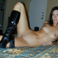 Reclining Nude - Bed, Long Hair, Navel Piercing, Shaved Pussy, Small Tits , Reclining Nude, Thigh High Black Leather Boots, Long Black Hair, Pierced Belly Button, Leather Boots, Shaved Pussy, Small Tits, In Bed, Naked On The Bead, Posed Indoors Nude