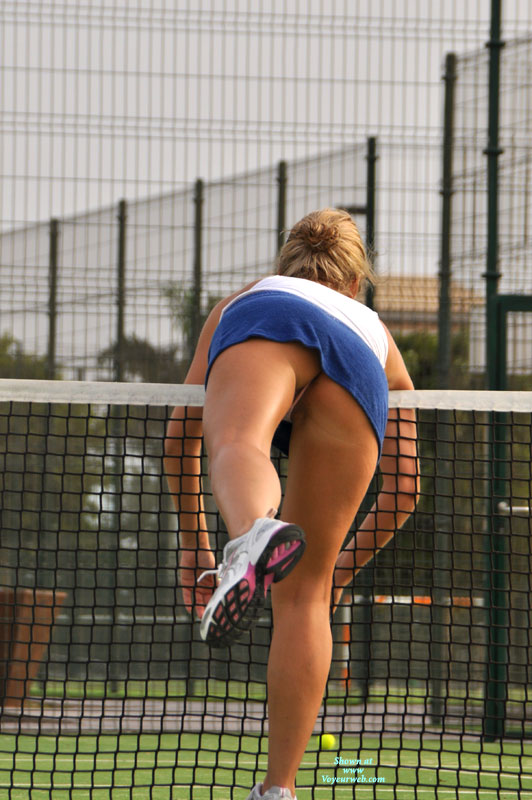 Tennis Upskirt - Upskirt , Tennis Outfit, Tanned Under The Skirt, White Sneakers, Tennis, Running Shoes, Me Upskirt, One Foot In The Air, Athletic Upskirt, Short Skirt, Blue Tennis Skirt