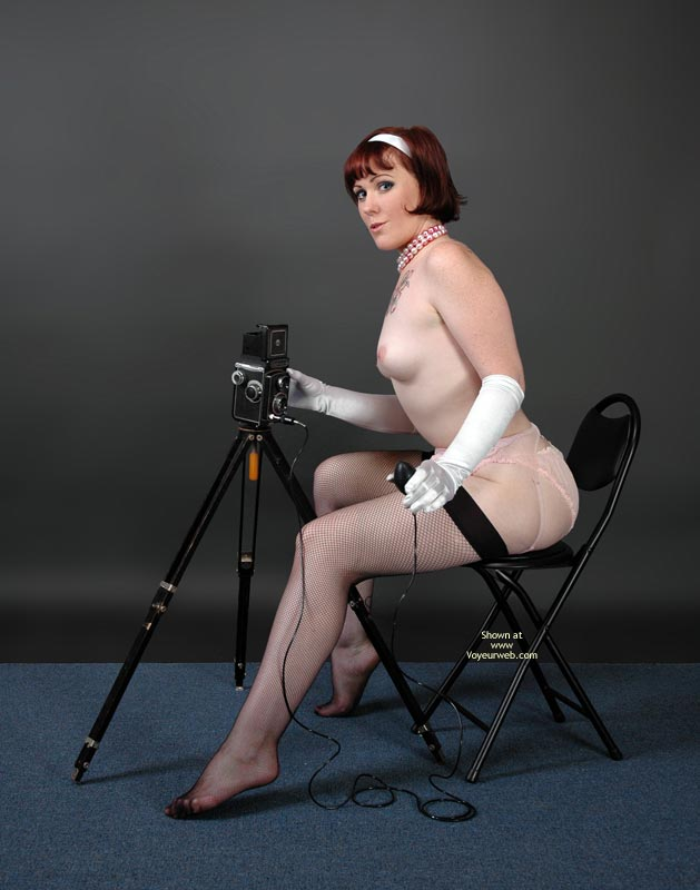 Photo Studio - Red Hair, Small Tits, Stockings , Photo Studio, Classic Pin Up To Be With Tripod, Sexy Photographer, Small Tits, Black Stockings, Retro Style, Red Hair