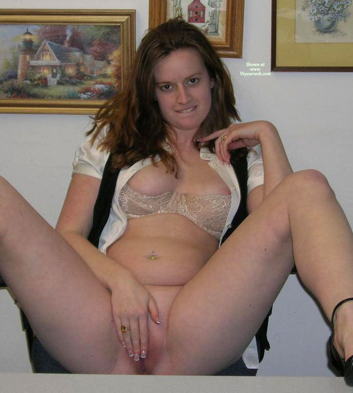 Brunette Without Panties, Legs Spread Sitting On A Chair - Brunette Hair, Spread Legs , Tan Lace Push-up Bra, Black Scarf, Black Heels, Boob Slip From Bra, Creamy White Feminine Thighs, Legs And Heels, Hiding Her Pussy With Her Hand, Wedding Ring, Touching Herself On Top Of Table