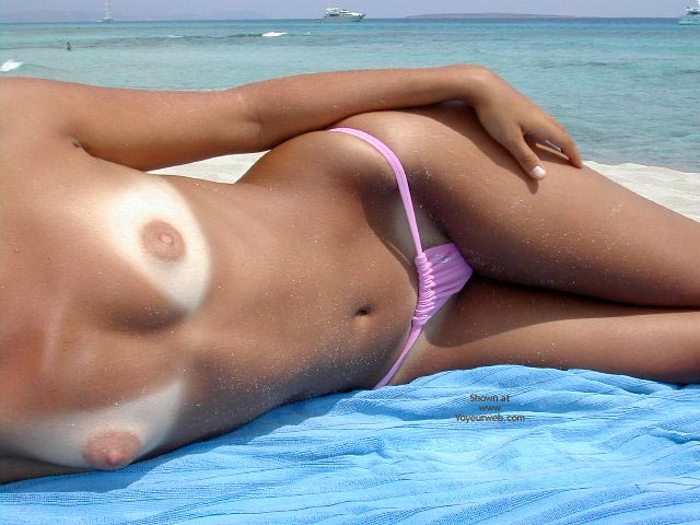 On The Beach - Nude Beach, Topless Beach , On The Beach, Sexy Pink Bikini, Deep Tanlines, Topless On Beach, Pink Bikini Bottoms, Pink Bikini Bottoms, Tanline Nude Breasts, Girl On Beach, Pink Bikini Panty, Breast Tanlines