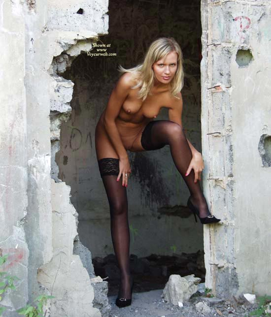 Blonde Wife Standing Sexy In Rubbish - Blonde Hair, Heels, Stockings, Nude Amateur, Nude Wife, Sexy Face, Sexy Legs, Sexy Wife , Stockings Only, Mostly Nude, Black Heels, Thigh-high Black Stockings, Black High Heeled Shoes, Abandoned Building, Beautiful Sexy Face, Beautiful Legs With Heels And Stockings, Thigh High Stocking