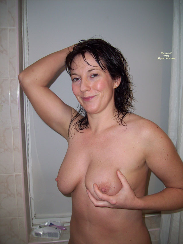 Wife's Tits In Bathroom - Dark Hair, Nude Amateur , Handfull, Bathroom, Short Erect Nipples, Showered And Sexy, Nude Me, Full Breasts, Holding A Mouth Full, Cute Smile, Real Tits, Naked Wife, Wet Hair