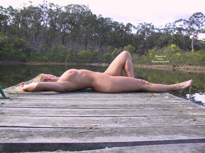 Nude Reclining On Dock - Nude Outdoors, Side View , Nude Reclining On Dock, Outdoor Nude, Naked On A Dock, Side View, Sun Bathing, Nude Outside, Blonde Nude