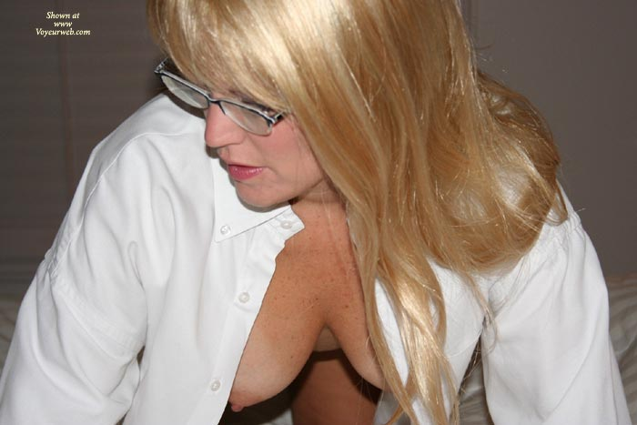 Nipple Peek - Blonde Hair, Glasses, Hangers, Nipples , Nipple Peek, Glasses, White Shirt, Blonde, Hangers, Pointy Nipples, Button Down Shirt