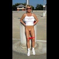 Mature Lady Flashing Her Pussy - Big Tits, Flashing, Shaved Pussy, Bald Pussy, Pussy Flash, Wife Pussy , White T-shirt, Vw Tank Top, Tennis Shoes Short Socks, Red Panties Down Around Knees, Panties Down, Sun Glasses, White Tank Top, White Running Shoes, Red Panties, Leaning Against Pile