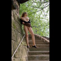 Outdoor - Full Frontal Nudity, Nude Outdoors, Stairs , Outdoor, Down Stairs, Looking Forward, Nude On Public Steps, Lifting Up Dress, Black Flats, Almost Full Frontal