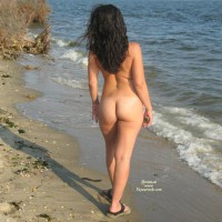 Standing Naked On A Beach - Nude Beach, Round Ass , Standing Naked On A Beach, Full Nudity From Behind, Nude On Beach, Tattoo Back, Round Ass, Naked Brunette In Sandals