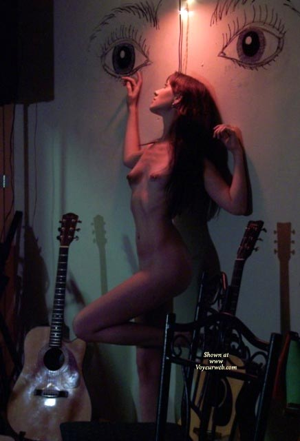 Naked Leaning Against Wall - Long Hair, Perky Tits, Nude Amateur , Naked Leaning Against Wall, Surrounded By Guitars, Long Hair, Standing Profile Nude, Small Perky Tits, Slender Thighs, Cute Figure