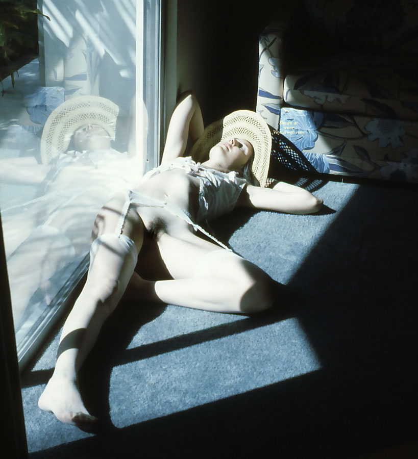 Sexy Daydreaming - Nude Amateur, Nude Wife , Breasts Covered Loosely, White Garter Belt, White Lingerie, Sun Luver, White Stockings, Sun Snooze, White Silk Stockings, Pantiless By Window, Hairy Snatch