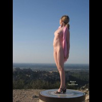 Nude Statue - Small Tits, Naked Girl, Nude Amateur , Pink Scarf, Scenic Overlook, Her Back Is Slightly Arched, Pushing Her Beautiful Belly Out, Black Heels, Her Hands Are Clasped Behind Her Back, Standing Looking Into The Distance, Exposed In Sunlight, Standing Up Like Statue