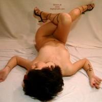 Naked Girl Lying On Her Back - Heels , Naked Girl Lying On Her Back, Black High Heels, Crossing Her Legs