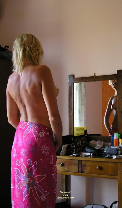 Topless Blonde - Perky Tits, Topless Blonde , Topless Blonde, Perky Tits, Looking In Mirror, Print Sarong
