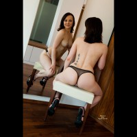 Mirror Shot Of Topless Chick - Topless, Nude Amateur, Nude Wife , Mirror Image, Dark Haired Spike Heels, Approachable Look, Thong And Heels Only, Carressable C Cups, Black Thong Rear View, Cheeks On A Seat, Both Sides At Once