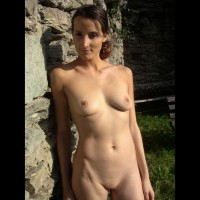 Natural Beauty - Shaved Pussy, Bald Pussy, Nude Amateur , Standing Against Rock Wall, Frontal View On Rock, Man Eater, Full Body In Full Light, Nude In Evening Sun, Lean And Clean, Nude Outdoors, Shaved And A Smile