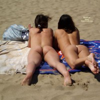 Bubbly Beach Buns - Brunette Hair, Dark Hair, Long Hair, Beach Voyeur , Mature Blond, Beach Thongs, Two Butts On The Beach, Straight Brunette, Asses With String, Bare Feet, Two Ladies With Thongs On The Beach, Ass Perfection!